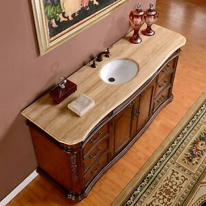 details about 72 inch wide travertine top large single sink bathroom vanity cabinet 0247tr
