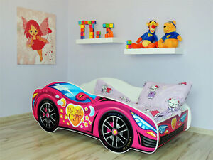 Image Is Loading Racing Car Bed Pink Childrens With Mattress