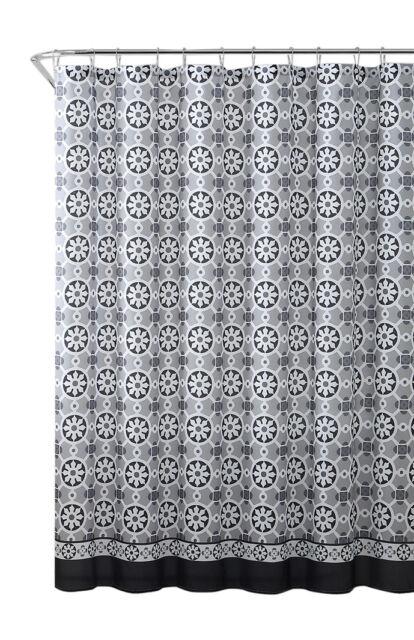 coronado embossed fabric shower curtain pattern circle geometric design with