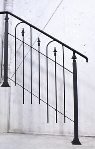 Custom Handmade Rustic Wrought Iron 2 Step Stair Railing To Fit   Rustic Wrought Iron Stair Railings   Simple   House   Cabin   Iron Baluster   Contemporary