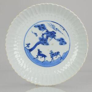 Antique Chinese Porcelain 17C Porcelain Ming Transitional Deer Pine Sun ...