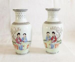 GOOD PAIR OF ANTIQUE EARLY 20TH C CHINESE REPUBLIC PORCELAIN VASES WITH SCRIPT