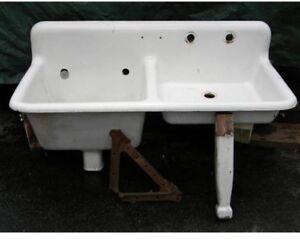 details about antique vintage double sink