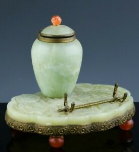 GREAT ANTIQUE CHINESE CARVED JADE CARNELAIN BRONZE MOUNTED INKWELL INKSTAND