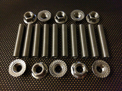 vw t5 5 cylinder stainless exhaust manifold studs and flange nuts x 10 camper ebay