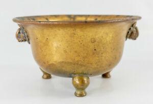 Antique Chinese Bronze Tripod Incense Burner Censer Ming Xuande Reignmark