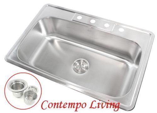 home garden 33 x 22 x 9 deep top mount drop in stainless steel single bowl kitchen sink bathroom sinks