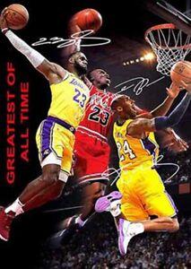 details zu michael jordan lebron james kobe bryant greatest signed autograph a4 poster