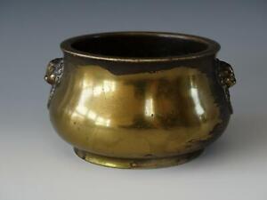 Chinese Gilt Splashed Bronze Incense Burner or Censer Mask Handles Xuande Mark