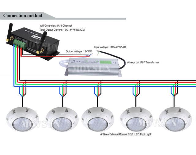 18w 35w wifi led swimming pool underwater light  wifi controller   transformer