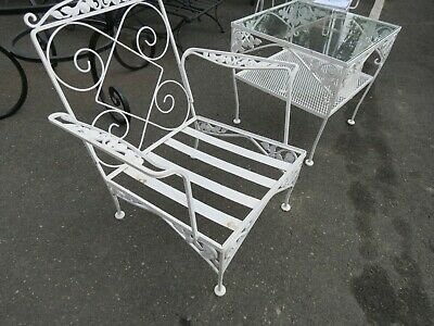 vintage meadowcraft wrought iron patio furniture club chair ebay