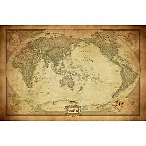 Vintage World Map Poster Canvas Detailed Center Australia Waterproof     Image is loading Vintage World Map Poster Canvas Detailed Center Australia