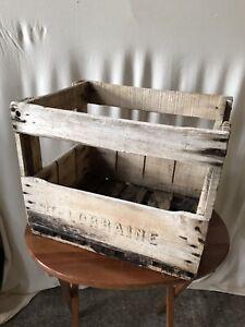 details sur ancienne caisse casier porte bouteille est lorraine bois deco vintage
