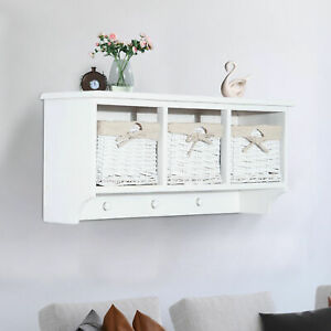 details about 31 entryway wall mounted cabinet coat rack shelf storage with hooks baskets