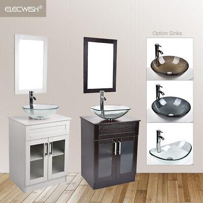 24 white bathroom vanity cabinet w mirror vessel sink bowl faucet drain combo ebay