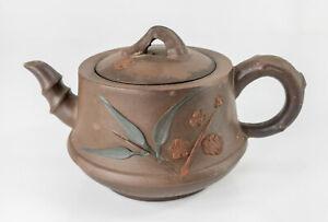 Antique Chinese Yixing Zisha Teapot Bamboo And Prunus Signed Seal