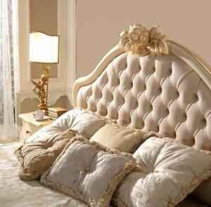 Design semplice ma di impatto. Letto Matrimoniale Testata Capitonne Tessuto Lusso Fregio E Filetto Foglia Oro Ebay