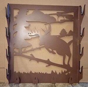 details about metal gun rack with deer jumping fence cut out four gun metal gun rack