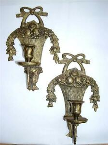 VINTAGE French Style Brass Floral Garland Basket Wall ... on Antique Style Candle Holder Sconces id=18291