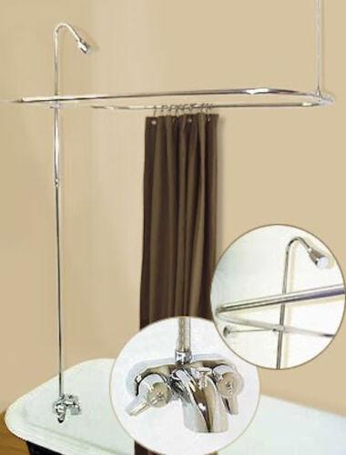 bathtubs add a shower w curtain bar for clawfoot tub on legs w heavy duty faucet home garden