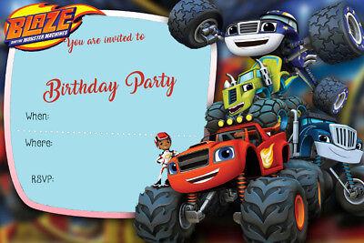 boy girl blaze and the monster machines birthday party invites b2 ebay