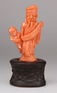 Antique Chinese Carved Coral Statue Figure Buddha Wood Stand 19th Qing