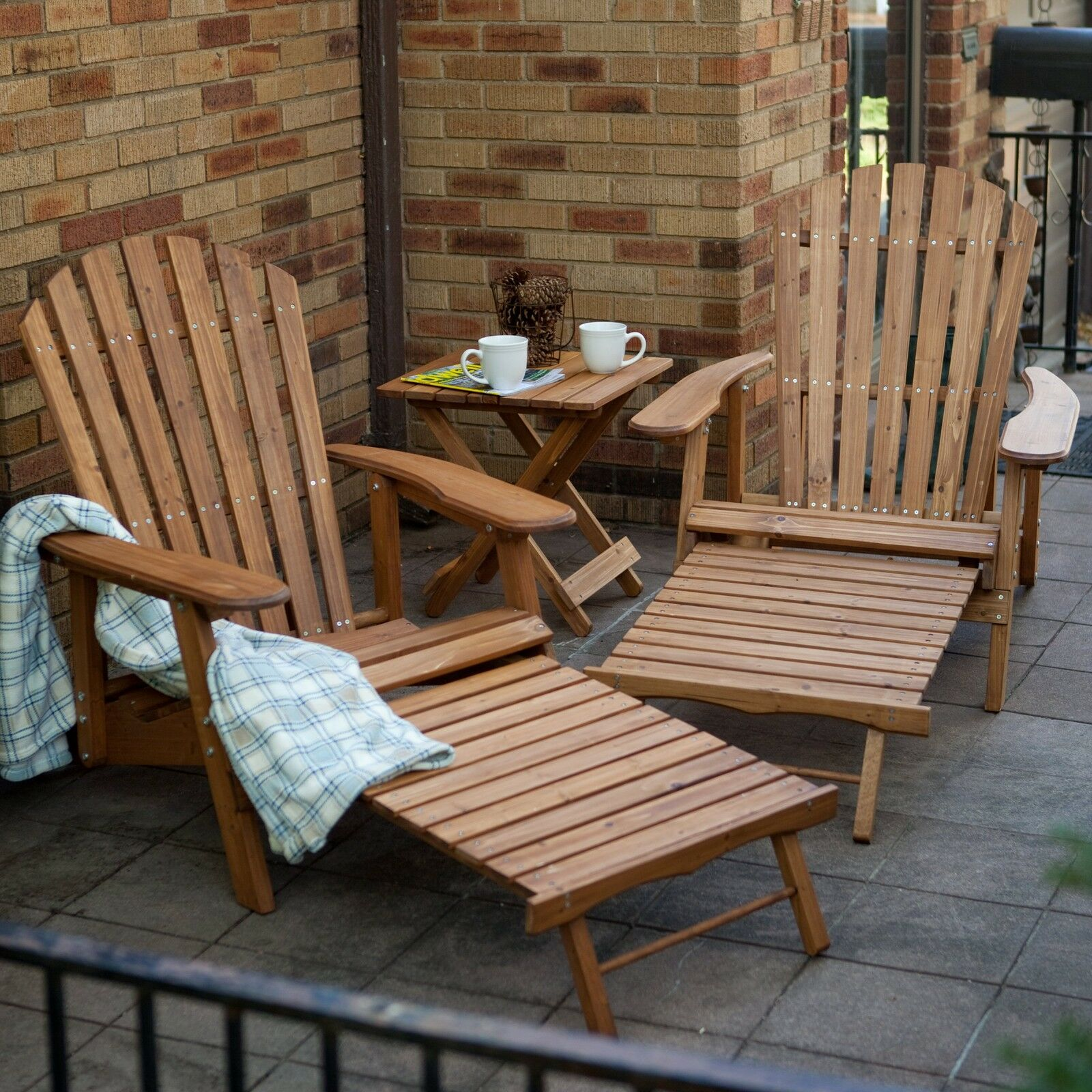 3 Piece Natural Brown Pull Out Ottoman Adirondack Bistro Set Outdoor Furniture