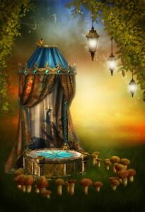 Fairy Stage With Lamps Backdrop Mushroom Forest Background