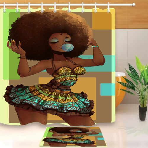 makeup african american afro black woman shower curtain liner bathroom mat 72 home garden patterer bathroom supplies accessories