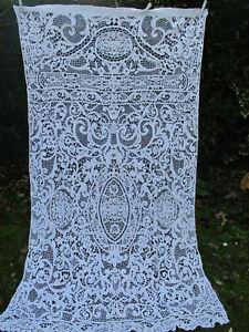 details sur grand rideau dentelle faite main ancien xixe 1 25mx2 20m