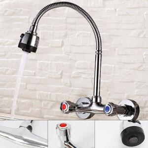 details sur robinet d evier cuisine mitigeur mural de douche salle bain en laiton 2 trous