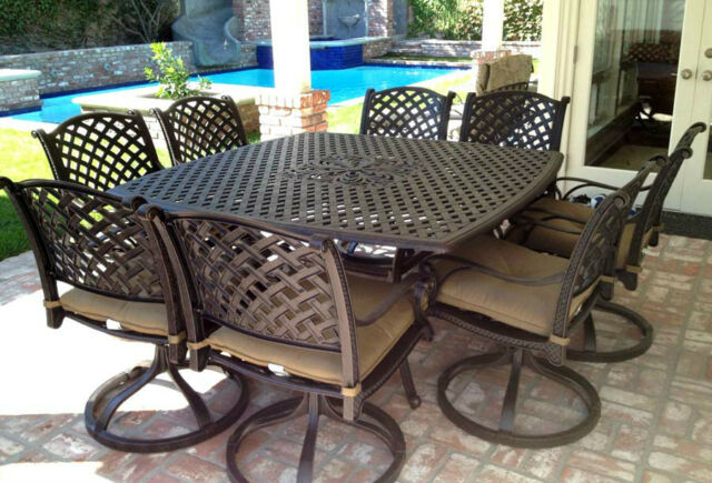 patio dining set of 9 cast aluminum furniture nassau outdoor chairs and table