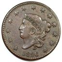 1826 N-6 R-2 Matron or Coronet Head Large Cent Coin 1c