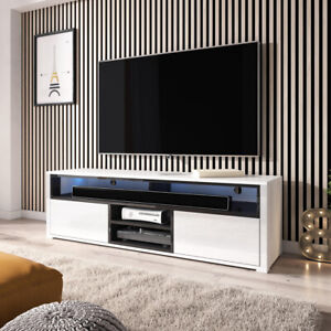 details sur meuble tv laksa 140 cm chene wotan noir gris blanc led optionnel moderne
