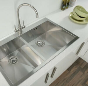 details about hafele damson square 2 0 double bowl stainless steel inset kitchen sink