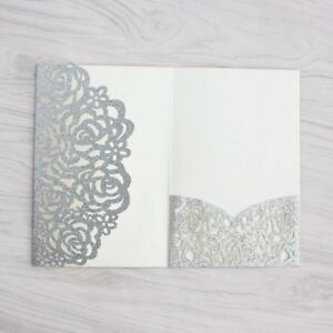 Details About 100pcs Personalized Laser Cut Printing Wedding Invitation Cards With Envelopes