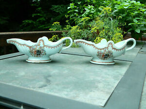 Antique Pair Chinese Export Armorial Porcelain Sauce Gravy Boats Arms Of Tafford