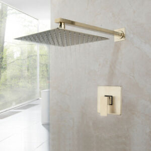 details about bathroom shower faucet set brushed gold square rainfall shower head mixer tap