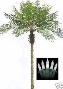 8' Artificial Phoenix Palm Tree 8ft Plant Date Sago Pool Deck & Christmas Lights