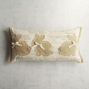 details about pier 1 imports pillow lumbar 3 natural bunnies burlap rabbits 24 x 12 new