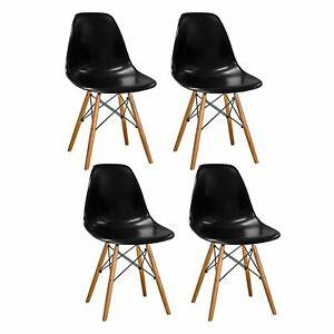 details sur lot 4 chaises noir retro design tendance contemporain scandinave salle a manger
