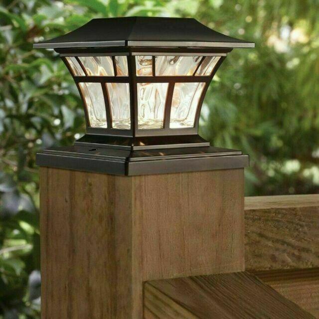 bronze solar led deck post cap light 4x4 6x6 outdoor garden patio lighting