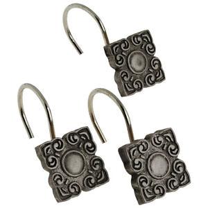 details about bellport decorative shower curtain hooks set of 12 pewter