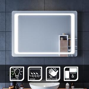 Miroir Led Salle De Bain 100x70 Cm Miroir Led Anti Buee Commutateur Infrarouge Ebay