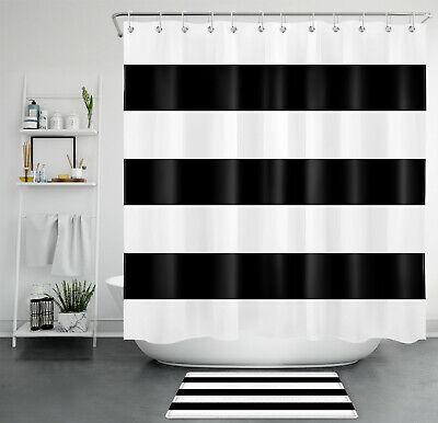 71 abstract black white stripes shower curtain hooks bathroom accessory sets ebay