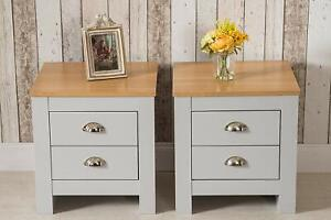 details about country style bedroom furniture bedside table 2 grey oak top mdf board