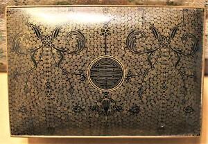 Old Cloisonne Footed Box, 9X6X4, Undamaged,Fine Black Enamel,Chinese
