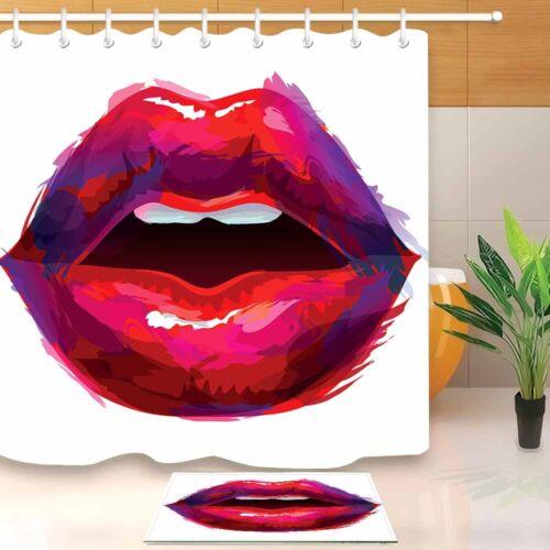 waterproof fabric apply red lipstick lips shower curtain liner bathroom mat hook bath shower curtains