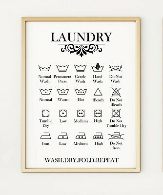 Laundry Care Guide Washing Symbols Instructions Utility A4 Poster Print Po356 Ebay