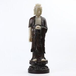 Antique Chinese Sandalwood Inlay Jade Buddha Statue